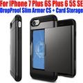Para iphone 7 plus/6 s más 6 5S sí case borde redondo gota prueba de tarjeta de almacenamiento delgado armor cs tpu + pc case para iphone 7 ip702