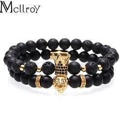 Мужской/женский браслет Mcllroy с натуральным камнем, бусинами, браслеты со львом из нержавеющей стали, набор медных браслетов с короной из куб...