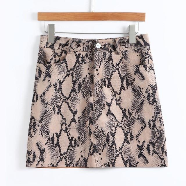 New Fashionable Women Sexy Snake Print Skirt Elastic Suede Zipper Button Short Mini Skirt Khaki
