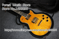 Wholesale & Retail China LP Electric Guitar In Yellow Color Floral Inlay As Picture With Guitar Case Free Shipping