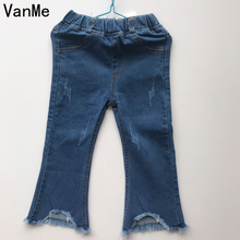 VanMe Korea Jeans for Girls 2017 Big Size Zanzea Pantalones Vaqueros Kids Pants Elastic Waist Casual Tassel Flares Jean for Kids