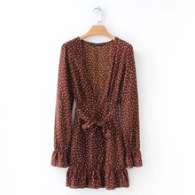 Europe and America Autumn new wave dot printing V Collar lotus leaf Dress