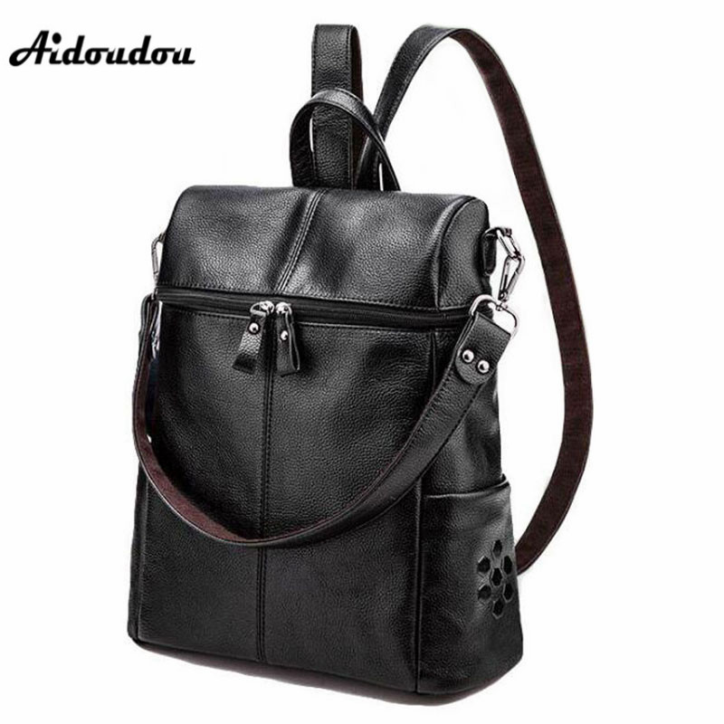 AIDOUDOU Luxury Rivet Women's Backpacks High Quality Leather School Bags for Girls Fashion Large Travel Backpacks Mochila aidoudou hot sale rivet women leather backpack fashion school bags for teenagers girls high quality ladies backpacks black