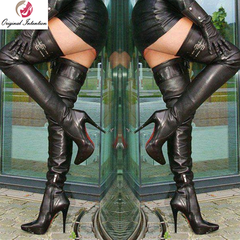 Original Intention New Fashion Women Over Knee Boots Buckle Strap High Heels Zip Boots Sexy Black Shoes Woman Big Size 4-15Original Intention New Fashion Women Over Knee Boots Buckle Strap High Heels Zip Boots Sexy Black Shoes Woman Big Size 4-15