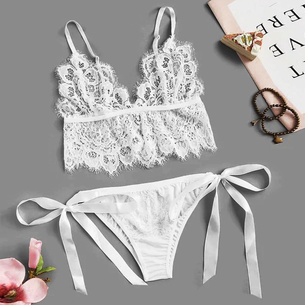 Erotic Lingerie Women's Fashion White Lingerie Set Eyelash Floral Lace Tie Side Bandage Underwear Cute Sex Costumes