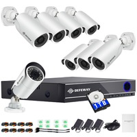 DEFEWAY 1080P CCTV System HDD 8CH DVR 1080P HDMI Home Video Surveillance Weatherproof Security Camera 2000TVL