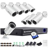DEFEWAY 1080P CCTV System HDD 8CH DVR 1080P HDMI Home Video Surveillance Weatherproof Security Camera 2000TVL 1TB Hard Stick New