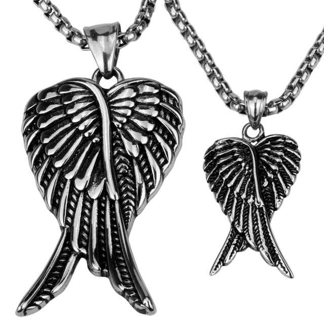 Couple necklace stainless steel angel wings pendants w chain couple necklace stainless steel angel wings pendants w chain valentines day gifts for him her aloadofball Image collections