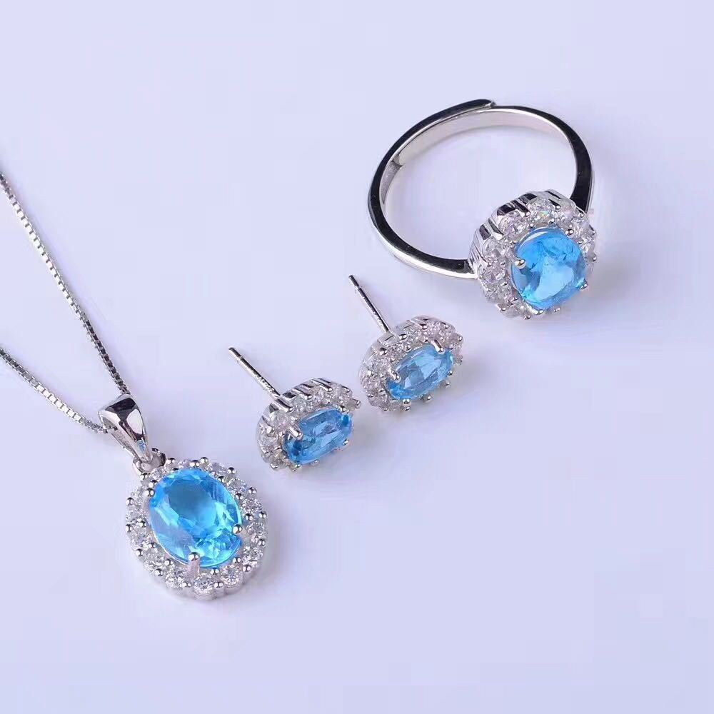 Multicolored Natural Blue Topaz Earrings suit + + pendant ring set 925 silver suit free shipping рюкзак madpax rex 2 half light blue multicolored kab24485083 225874