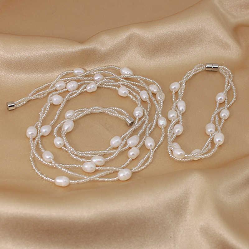 Chic Buatan Tangan Asli Mutiara Air Tawar Alami Multi Lapis Kalung Gelang Perhiasan Set untuk Wanita Pesta Hadiah