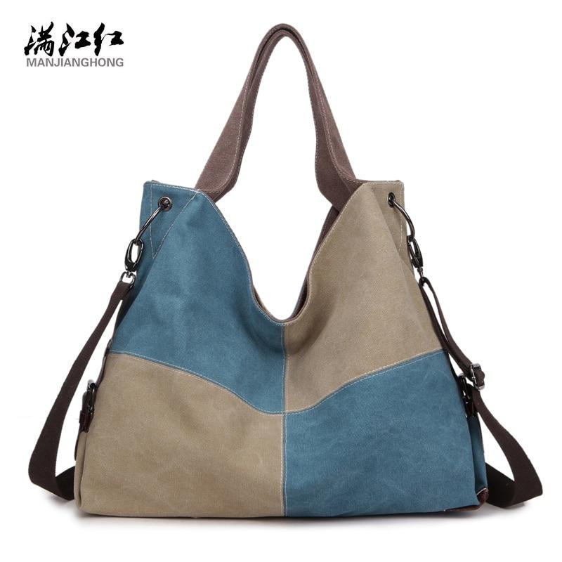 Popular Fashion Canvas Patchwork Women Bag Handbags High Quality Women Bags Ladies Shoulder Bag Female Bag 1340