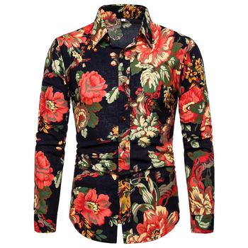 Casual Floral Mens Shirt Stay Long-sleeved Linen Shirts for Men Plus size Flower Blouse New