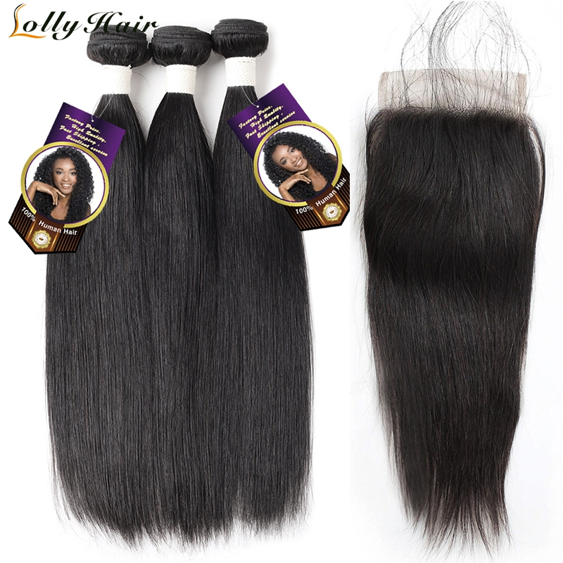 Lolly Raw Indian Hair 3 Bundles With Closure Free Part Natural Color Straight Human Hair Bundles With Closure 4Pcs/Lot Remy Hair