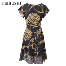 FEIBUSHI Summer Chiffon Dress Outer Space Casual Floral Print Women Round Neck Hollow Out Printed Bowknot Chiffon Skater Dress