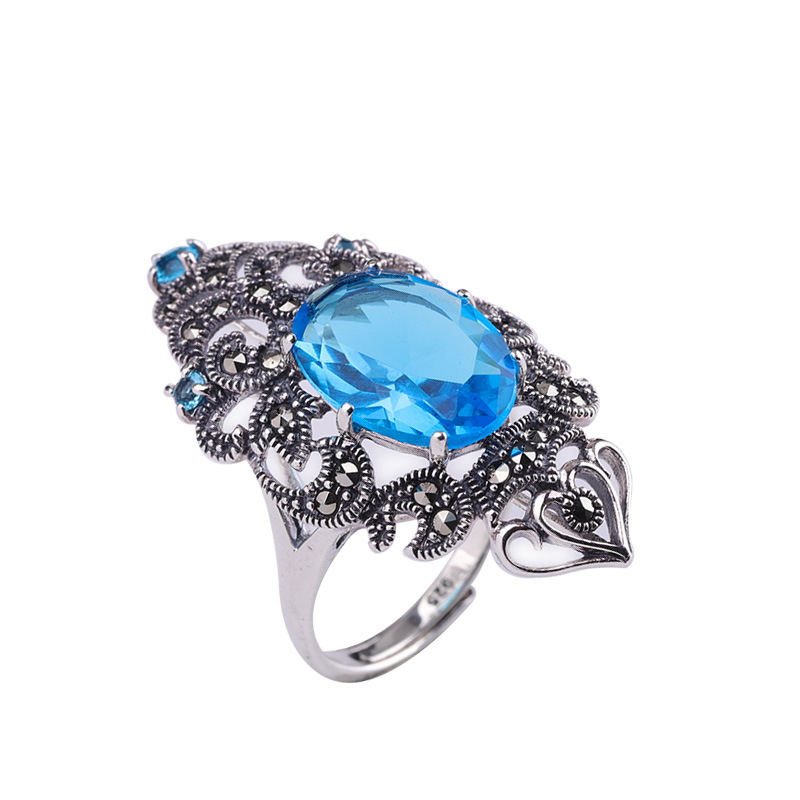 Fashion Elegant Gemstone Rings For Women Real 925 Sterling Silver Blue Zircon Jewelry Anniversary Gift Adjustable RingFashion Elegant Gemstone Rings For Women Real 925 Sterling Silver Blue Zircon Jewelry Anniversary Gift Adjustable Ring