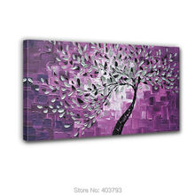 100% Hand-painted No Frame On The Back Knife Painted Purple Bottom White Flowers Wall Decor Landscape Oil Painting Canvas
