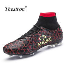 7c6e7e47e14 Thestron 2017 New Cool Men Football Boots With Sock Mens Football Cleats  Shoes Orange Athletic Spikes Boots For Football Sport