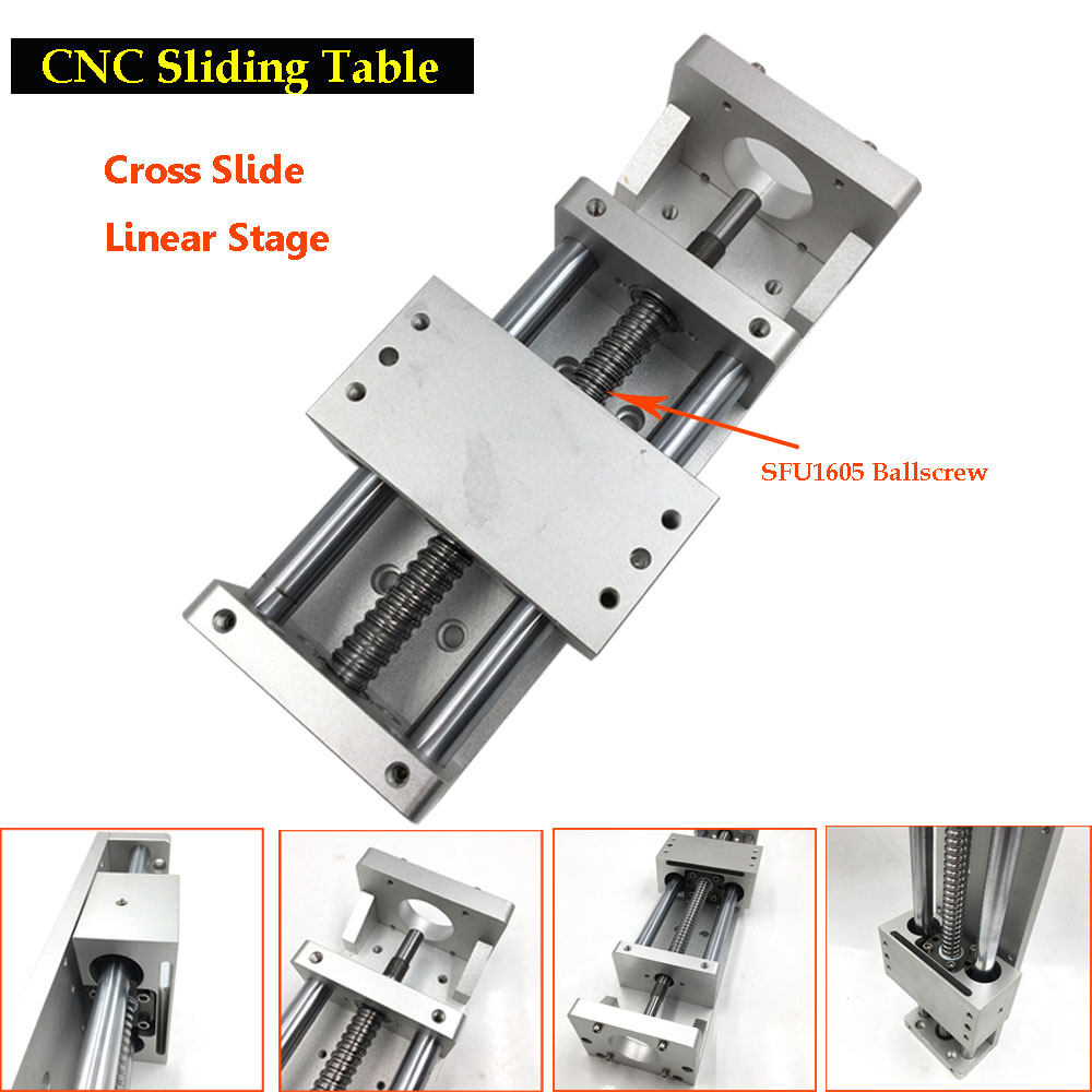 CNC Sliding Table X Y Z Axis Cross Slide Linear Stage SFU1605 Ballscrew C7 Actuator Linear Motion DIY Milling Engraving cnc z axis slide table 60mm stroke diy milling linear motion 3 axis engraving machine new