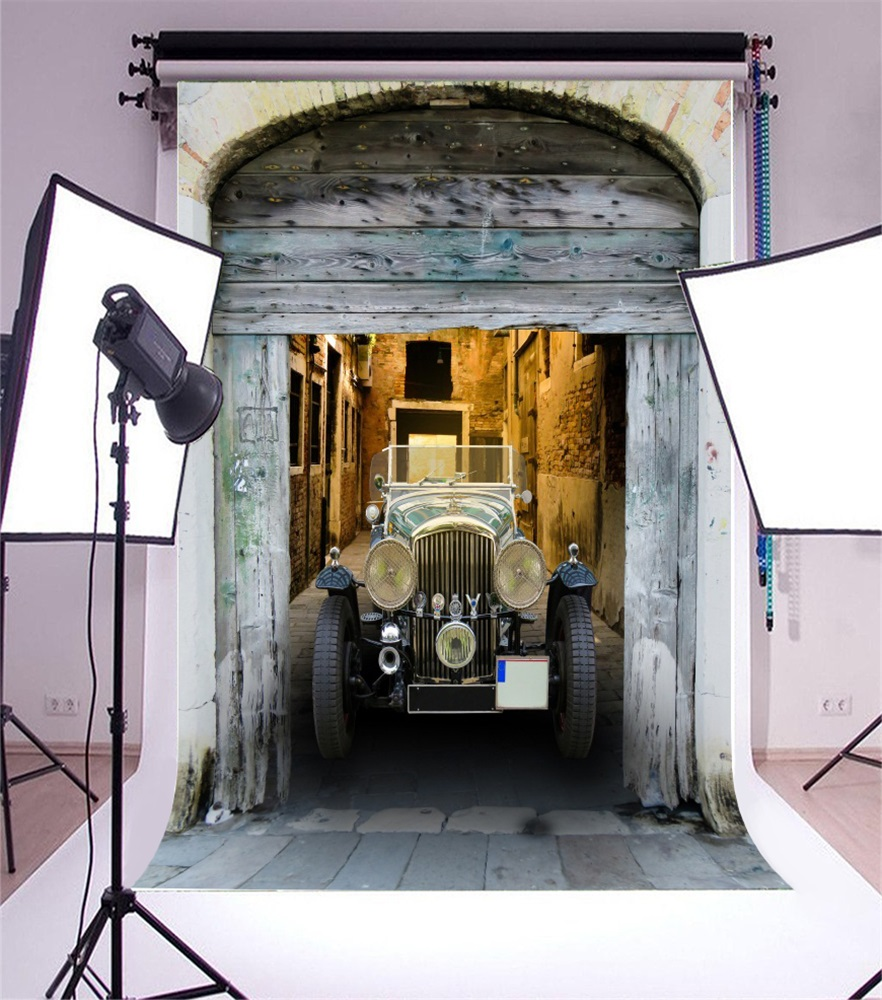 Laeacco Vintage Old Car Wooden Door Entrance Porch Photography Backgrounds Customized Photographic Backdrops For Photo Studio ...