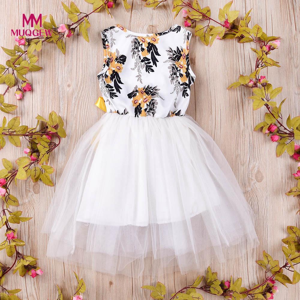 2018 new arrival baby dress Kids Infant Baby Girls Dress Tulle Floral Print Tutu Princess Dresses Outfits Vestido de princesa