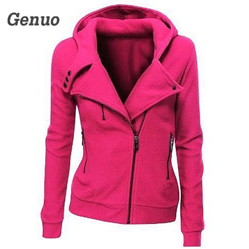 Genuo Women Fashion Zipper Hoodies Autumn Casual Hooded Sweatshirt Coat Jacket Slim Outwear Tops
