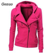 Genuo Women Fashion Zipper Hoodies Autumn Casual Hooded Sweatshirt Coat Jacket Slim Outwear Tops