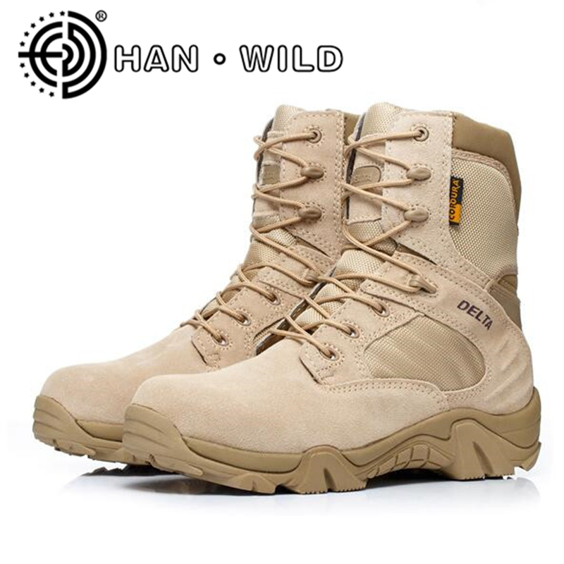 Quality Army Boots For Men Desert Shoes Cow Leather Combat Boots Men Tactical Military Boots Work Shoes Men's Ankle Boots military men s outdoor cow suede leather tactical hiking shoes boots men army camping sports shoes