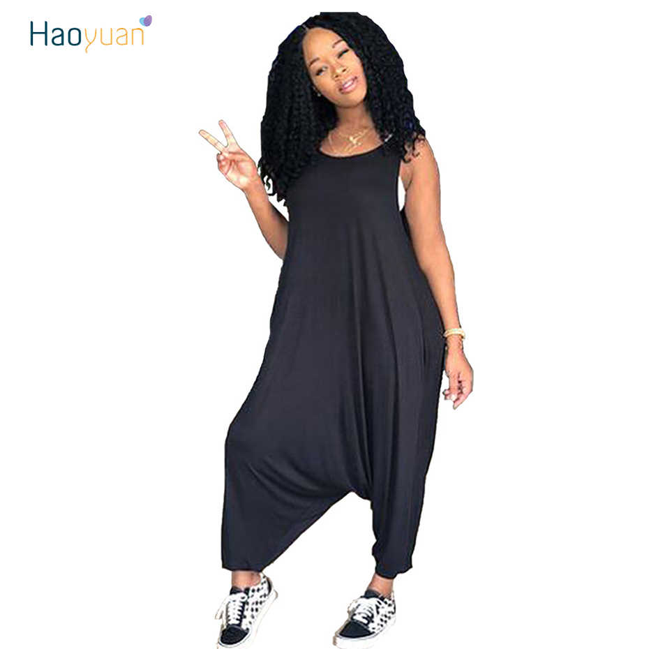 2735500934 HAOYUAN Sexy Rompers Womens Jumpsuit Summer 2018 Black Yellow One Piece Long  Pants Overalls O-
