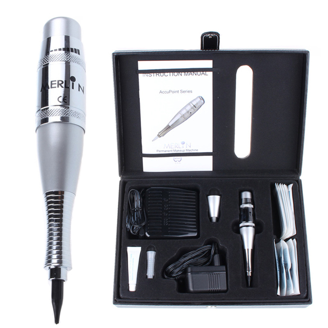 Merlin Professional Tattoo Kits Silver Permanent Makeup Machine Pen Sets For Eyebrow Lips Make Up Cosmetic  Supplies Tools