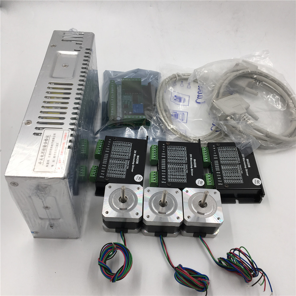 3 Axis CNC Router Kit 3pcs Stepper Motor Driver + 3pcs Nema17 Stepper Motor +1pc 24V Power Supply + 1pc Interface Board
