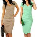Bodycon dress mulheres 2016 sexy com decote em v drapeado hem irregular de manga curta doce cor lápis dress ol office work dress vestidos