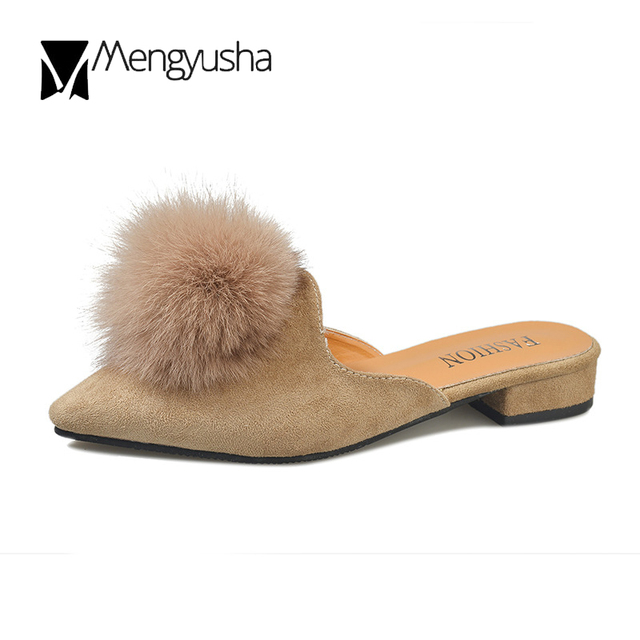 a05183541 big fur ball slippers women pointed toe flock pompon sandals 2018 autumn  winter slides mules shoes woman chinelo big size 41c716
