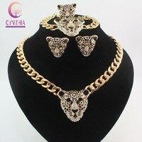 Cool Black Enamel Leopard Head Crystal Necklace Set For Women Men Trendy 18K Real Gold Plated