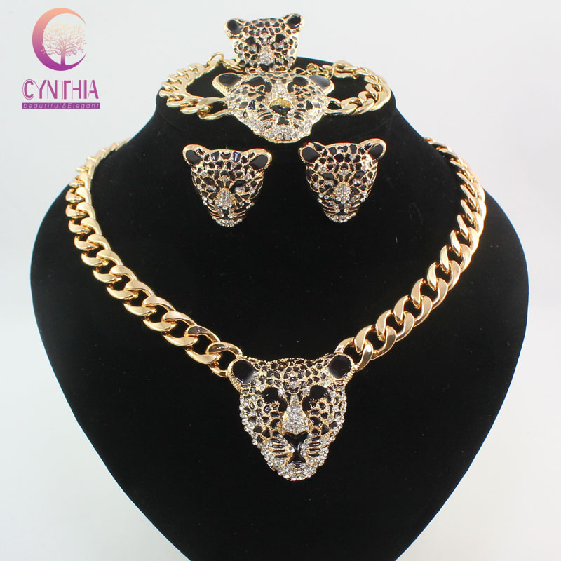 Cool Black Enamel Leopard Head Crystal Necklace Set para mujeres / hombres Trendy Gold color Costume African Jewelry Sets