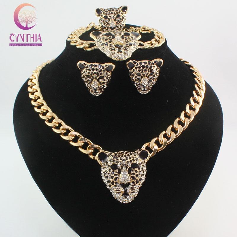 d6e368b4445f Cool Black Enamel Leopard Head Crystal Necklace Set For Women Men Trendy Gold  color Costume African Jewelry Sets