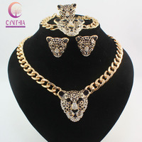 Cool Black Enamel Leopard Head Crystal Necklace Set For Women/Men Trendy Gold color Costume African Jewelry Sets