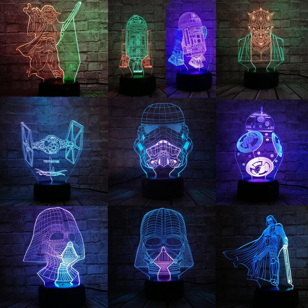 Star Wars 3D Night Light Mixed Color LED Lamp Black Warrior Darth Vader  Action Figure BB-8 R2D2 Gradient Toys