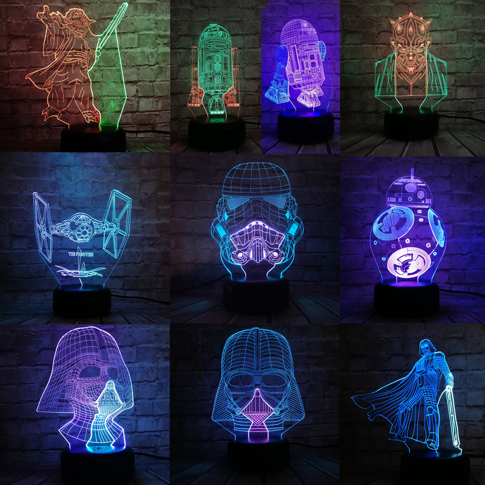 Star Wars 3D Night Light Mixed Color LED Lamp Black Warrior Darth Vader Stormtrooper Yoda Action Figure BB-8 R2D2 Gradient Toys star wars bb8 droid 3d bulbing light toys new 7 color changing visual illusion led decor lamp darth vader millennium falcon toy