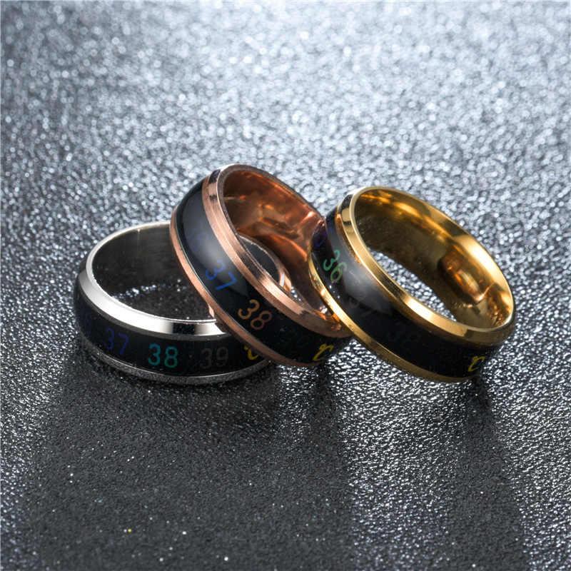 טמפרטורת טבעת טיטניום פלדה מצב רוח רגש תחושת טמפרטורת אינטליגנטי רגיש טבעות נשים גברים תכשיטי עמיד למים