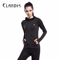 Sports Clothes For Women Gym Fitness Long Sleeve Running Jacket Hooded Zipper Jersey Yoga Shirt