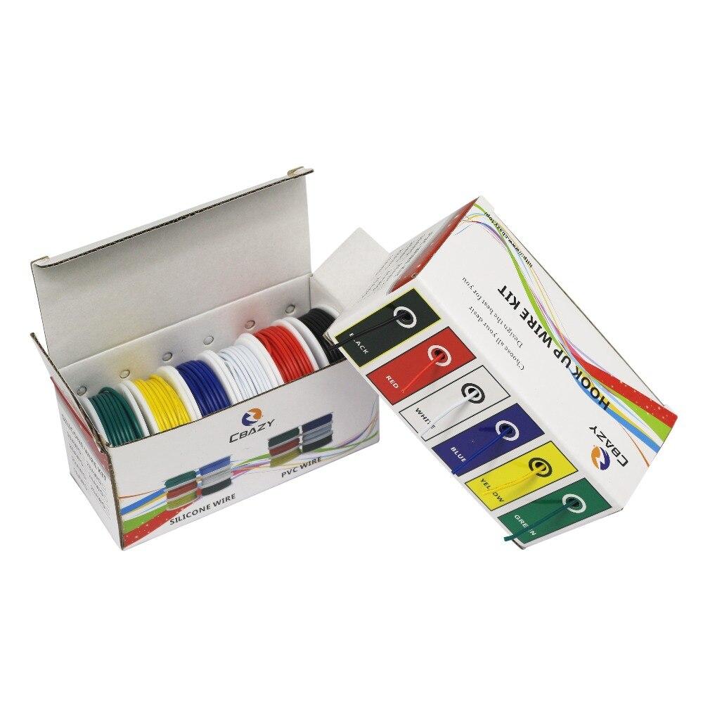 18 20 22 24 26 28 AWG UL1007 6-цветная гибридная упаковка многожильный провод и кабельная проволока медная луженая проволока сделай сам