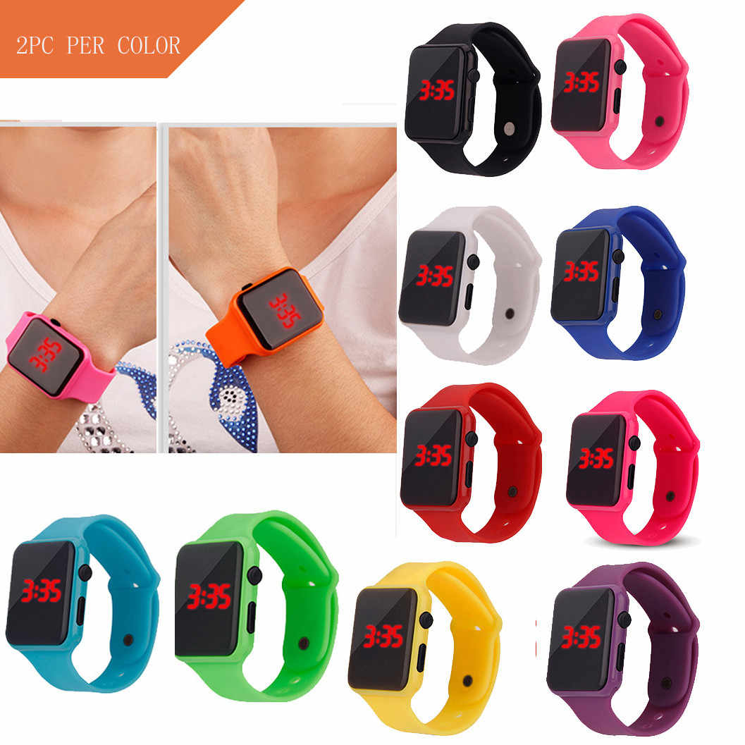 2pcs Fashion Sport Watches Simple LED Electronic Digital Watch Men Women Silicone Strap Wristwatch Montre Reloj Relogio Clock