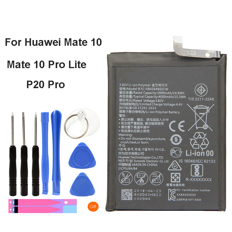 For <font><b>HuaWei</b></font> Replacement Phone <font><b>Battery</b></font> HB436486ECW 3900mAh for <font><b>Huawei</b></font> Mate 10/Mate 10 Pro Lite/<font><b>P20</b></font> Pro Original <font><b>Batteries</b></font> + Tools image
