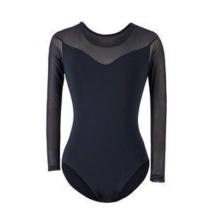 Image 5 - Balet taniec praktyka trykot dla kobiet balet adulto kostium czarna siatka z długim rękawem gimnastyka trykot baleriny 5876