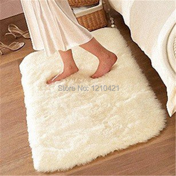 1pcs Free Shipping 80cmx120cm Super Soft Solid Color White Carpet Floor Rug Living Room
