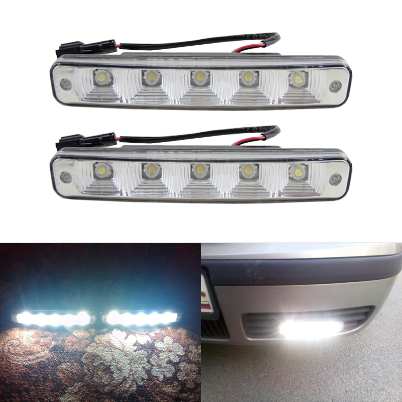 One Pair Car Daytime Running Light Led DRL Auto Universal White 12V DC 5 Led 6000 6500K Super Bright Day Light Head Lamp 10x auto t20 7440 w21w cob led car s25 wy21w backup external light stop reverse light rear front signal light source xenon lamp