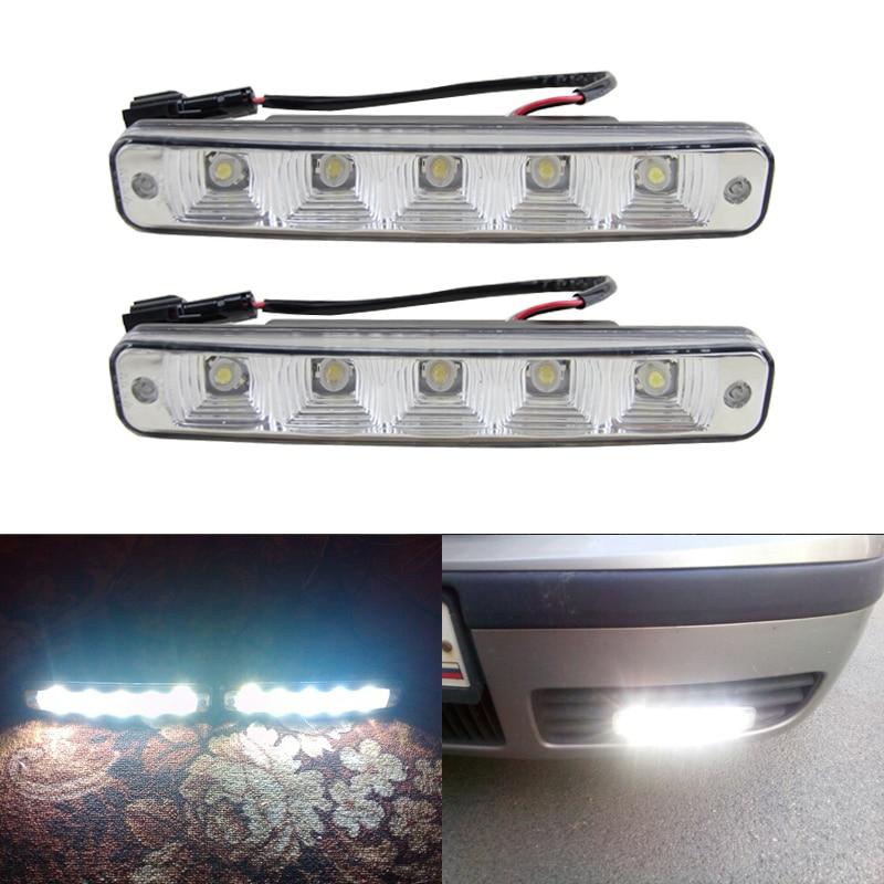 One Pair Car Daytime Running Light Led DRL Auto Universal White 12V DC 5 Led 6000 6500K Super Bright Day Light Head Lamp