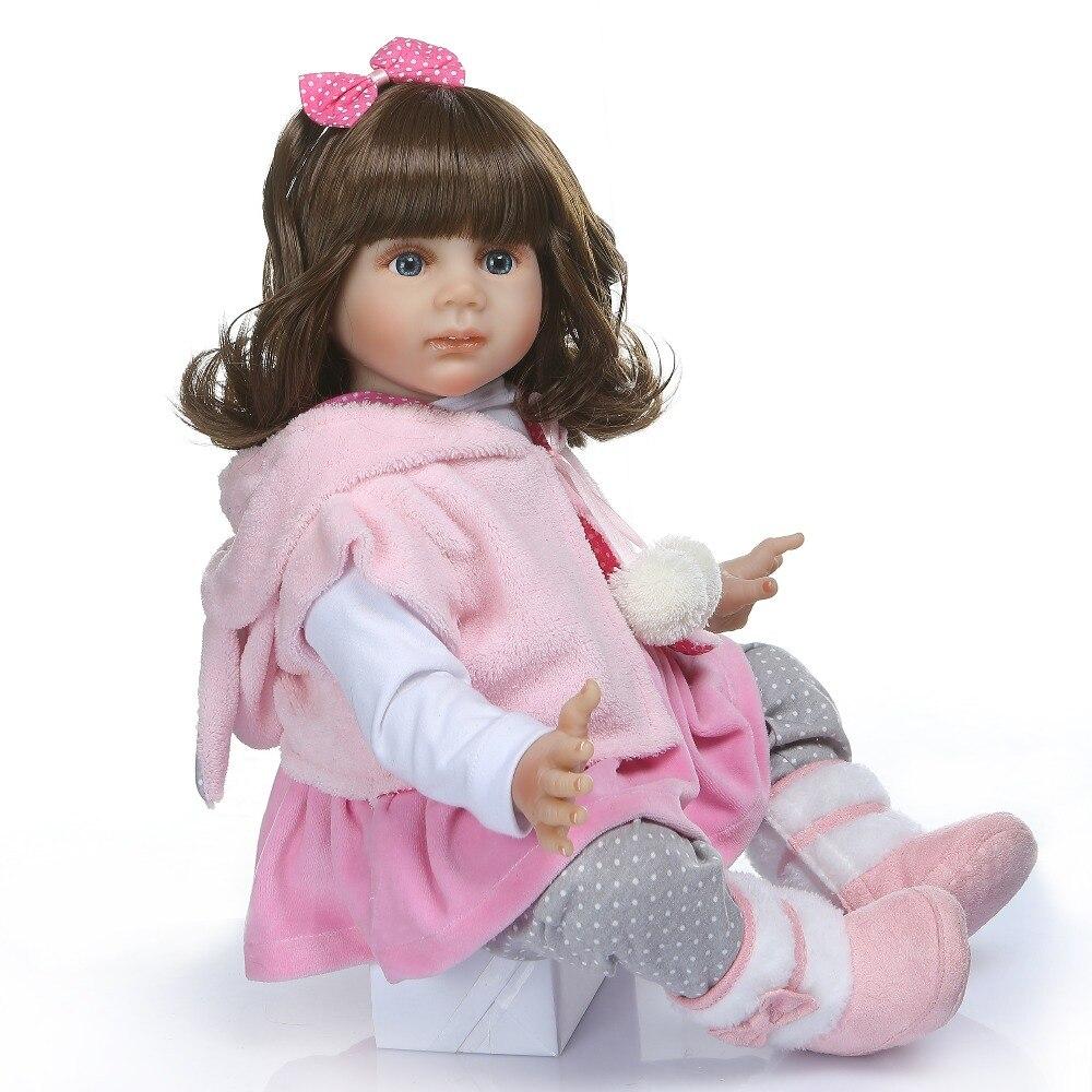 NPK 60 CENTIMETRI di alta qualità reborn bambino Fridolin molle del silicone bebe bambola reborn pincess bambola capelli lunghi-in Bambole da Giocattoli e hobby su  Gruppo 2