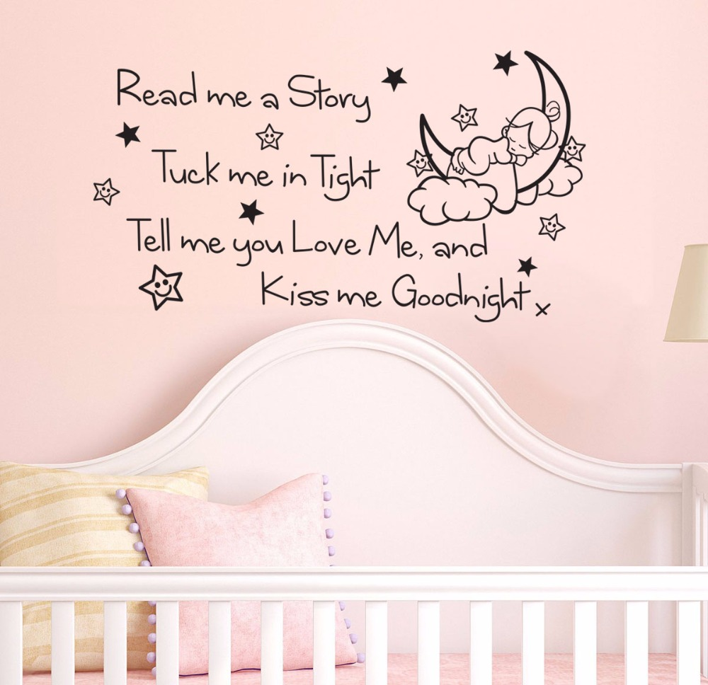 Yanqiao Moon Girl Read Me A Story Wall Sticker Quote Mural Decal Kids Room Bedroom Nursery Girl Boy Self Adhesive