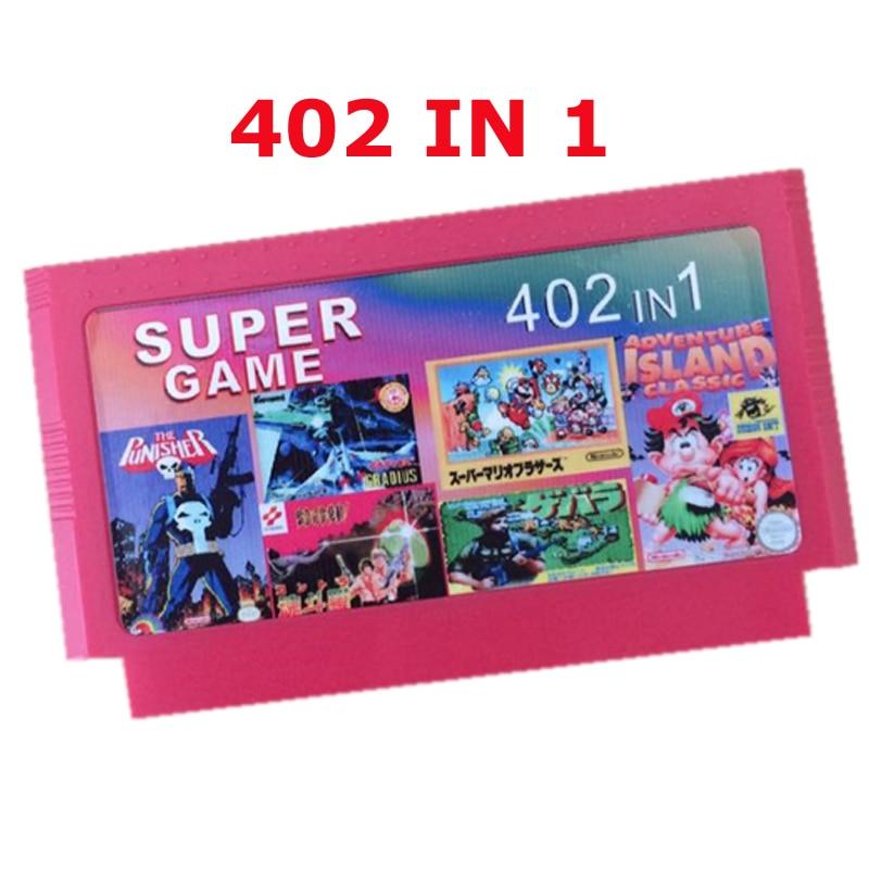 Vente chaude 8 cartouche de jeu peu meilleur cadeau pour enfants ---------- 402 dans 1 jeu panier